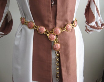 Givenchy Belt Statement Piece Designer Belt Green Stones REVERSE to Pink RETRO Belt 80's Gold Tone Belt Outfit Maker One Stylin Belt
