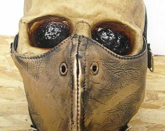 Gold - Brass Distressed Look Steampunk Dust Riding MASK - A Burning Man Must Have