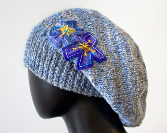 Morning Mist Slouch Hat - Blue Grey Winter Hat with Violet Flower - Warm Knitted Hat