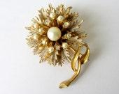 Vintage Signed BSK Rhinestone Flower Brooch