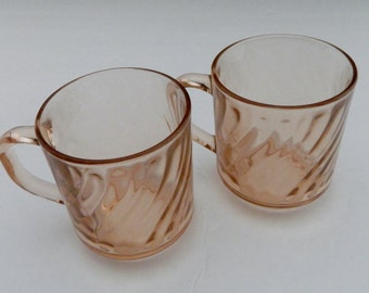 Arcoroc France 8 oz Rosaline Pink Swirl Cris D'arques Durand Two Coffee Mugs