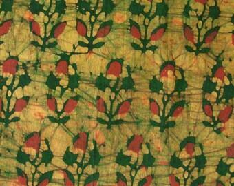 Batik Print Fabric - Red and Green Batik Print Fabric - 3/4 Yard - ctsm096