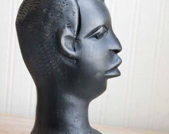 Vintage Carved Black Man African Bust, African Warrior Tribal Home Decor, Vintage African Art, Man Figurine, Ethnic Head Carving, Statue Art