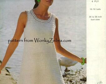 Vintage Crochet White Dress Pattern PDF 704 from WonkyZebra