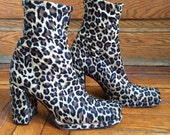Vtg 90s Leopard Print Chunky Heel Boots Size 7 / 37 1/2