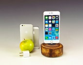 Docking station for ANY iPhone including 6 and 6 plus.. Includes wall charger. 716++. Reclaimed log slice. Live edge. FAST shipping.
