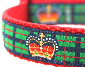 Crown Dog Collar, Adjustable Ribbon Collar, Royal, King Plaid Pet Collar, Green Dog Collar
