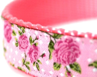Blooming Roses Dog Collar, Pink, Adjustable Pet Collar, Cottage, Shabby Dog Collar, Spring Summer Flower Collar