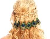 Peacock Feather Hair Clip /  Feather Chain Headpiece / Boho Headpiece / Kristin Perry