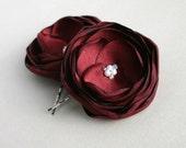 Burgundy Flower Hair Clips, Red Hair Flowers, Bridal Hair Pins, Burgundy Wedding Accessories, Bridesmaid, Flower Girl, Flowers For Hair