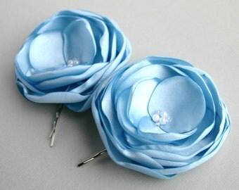 Blue Flower Hair Accessory, Wedding Hair Clip, Light Blue Hair Piece, Baby Blue Bridal Accessory, Bridal Hair Pin, Bridesmaid, Flower Girl