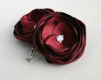Burgundy Flower Hair Clips, Dark Red Flower Hair Pieces, Bridal Hair Pins, Burgundy Bridesmaid Accessory, Flower Girl Hair Accessory