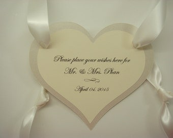 Heart Shaped Wedding Wishes Sign to Hang Around the Neck of your Wedding Wishes Jar can also be Prepared with your Custom Wording