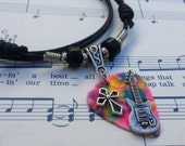 Guitar Pick Necklace - Christian Jewelry - Tye Dye  - Guitar Pick Jewelry - Cross Necklace - Christian Jewelry - Adjustable Necklace
