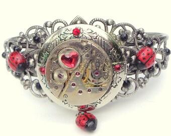 Steampunk Locket Cuff, Ladyug Bracelet, Red & Black Swarovski Crystals,Cosplay Cuff,Dark Metal Noir, Neo Victorian Cuff