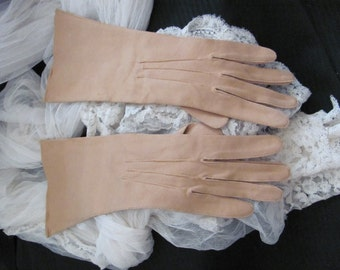 "Vintage Beige Tan Camel Ladies Long Nylon Gloves - Morley England 12"" long"
