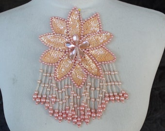 Cute  beaded  applique peach  color 1 piece listing
