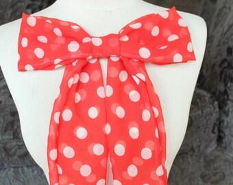 Cute chiffon bow   with polka dot  print