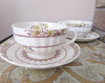 Vintage Spode Copeland tea cup and saucer pair | 1950s | teacups | Buttercup | English Bone China