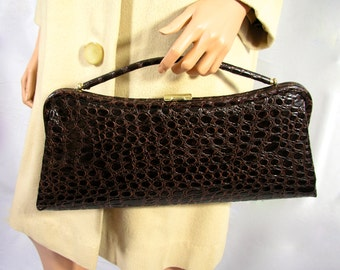 Vintage 1960s Brown Faux Alligator Purse Hand Bag Clutch - Free USA Shipping