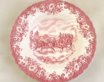 6 Vintage Johnson Brothers Pink Coaching Scenes Ribbed Soup Bowls - Free USA Shipping