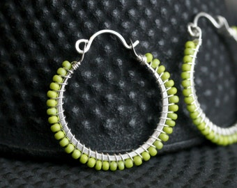 Lime green beaded hoops, sterling silver, Czech glass seed bead, chartreuse, wire wrapped, green hoops, Mimi Michele Jewelry