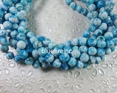 48 pcs facted Blue color round Fire agate beads in 8mm