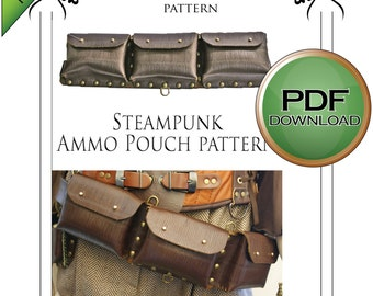 PDF Steampunk leather Ammo Pouch leather work Pattern Instant Download