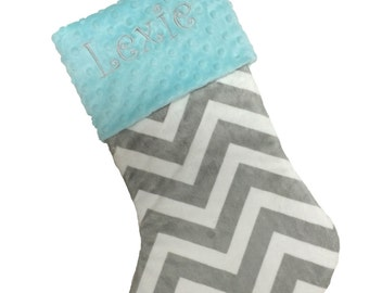 Christmas Stocking Gray and White Chevron Personalized Stocking With your Choice Minky Cuff Color