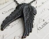 Black angel wing necklace, Fallen Angel Brass, Gothic angel wing necklace pair, dark angel, choice of chain length, angel wing pendant