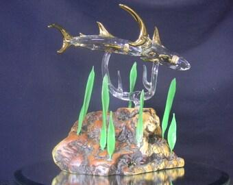 2 glass sharks mounted on base