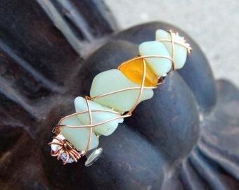 Soft Mint Sea Glass Hair Clip