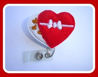 Retractable badge holder - Box of Chocolates - Valentine's Day - red white felt heart - Nurse RN office teacher gift badge reel