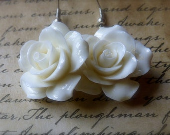 White Rose Earrings - Wedding and Bridesmaid Jewelry, White Wedding, Bridesmaid, Wedding Gifts  20% OFF