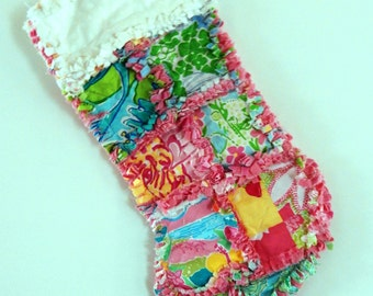 Lilly Pulitzer Rag Quilt Christmas Stocking Prince Charming Animal attaction conched out
