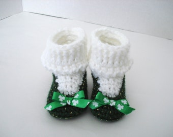 St. Patrick's Day Little Irish Girl Crochet Baby Booties Emerald Gold Green Ribbon White Clover Socks Shamrock Lucky Ireland 3-6 Months Size
