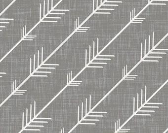 Custom fitted crib sheet in grey arrow