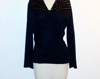Vintage 1970s Black and Orange Blouse - 70s Black V-neck Top