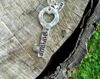 New-Special Key to My Heart Pewter Hand Stamped Necklace