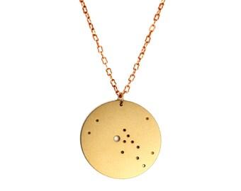 Taurus Gold Flash Constellation Pendant Necklace