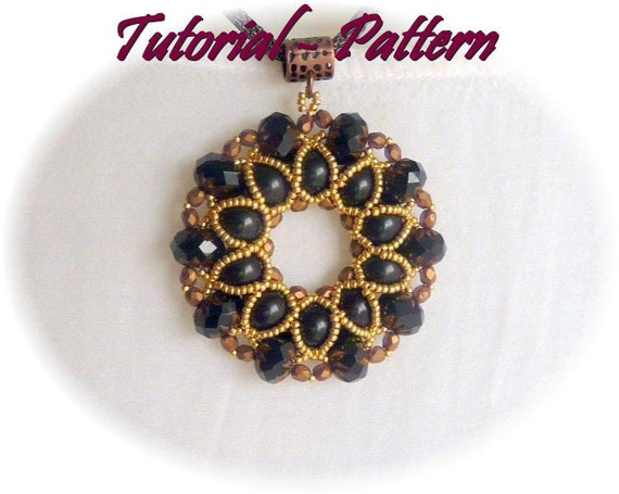 Beading pattern of beaded pendant Xaveria, PDF instructions, step by step