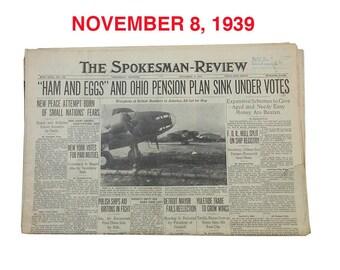 """November 8, 1939 Newspaper - Spokane, WA Spokesman-Review """"World War Two News"""""""