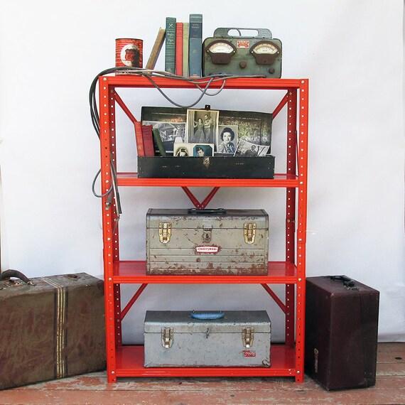 vintage industrial metal shelf unit shelving bright. Black Bedroom Furniture Sets. Home Design Ideas