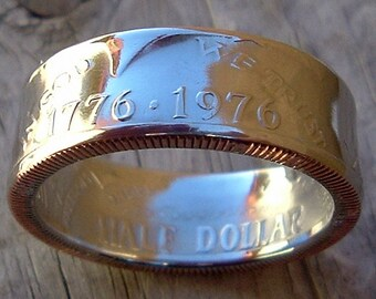 1776-1976 Bicentennial Kennedy Half Dollar Coin Ring (Available in sizes 8.5 through 12)