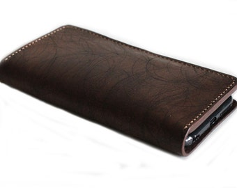 UNIQUE and RARE scratched leather wallet for ANDROID Phones in Dark Brown  (Free Personalization)
