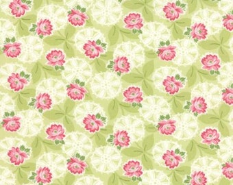 ON SALE Green Floral Fabric Moda Ambleside Fabric Pink Rose Fabric Green Quilting Fabric - By The 1/2 Yard