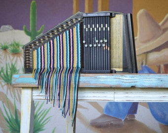 Woven Autoharp - Musical Instruments - Weaving - Yarn - Folk Music - Stripes - Vintage - Found Object - Loom