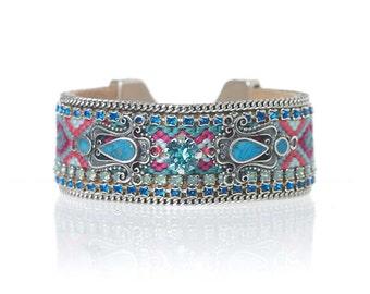 Embellished friendship bracelet cuff with turquoise enamel and Swarovski crystal - fabric cuff - boho chic hippie jewelry - gypsy jewelry
