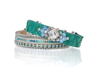 Set & Save bracelet set of two - embellished fish leather bracelet and Miyuki delica beadloom bracelet with Swarovski crystal