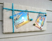 Bulletin Board in Sandy Burlap accented with Turquoise twine for a Nautical styled decor - great in a cabin or cottage, beach decor